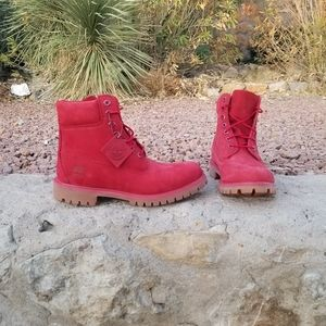 NEW Red Timberland Boots w Brown Gum Sole